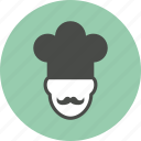 chef, chef hat, cook, cooking, food, mustache, restaurant icon