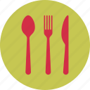 breakfast, food, fork, kitchen, knife, restaurant, spoon icon
