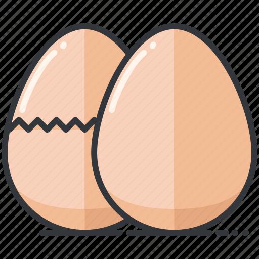 cracked, eggs, food, organic icon