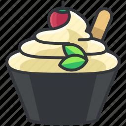 cream, dessert, ice, sunday, sweet icon