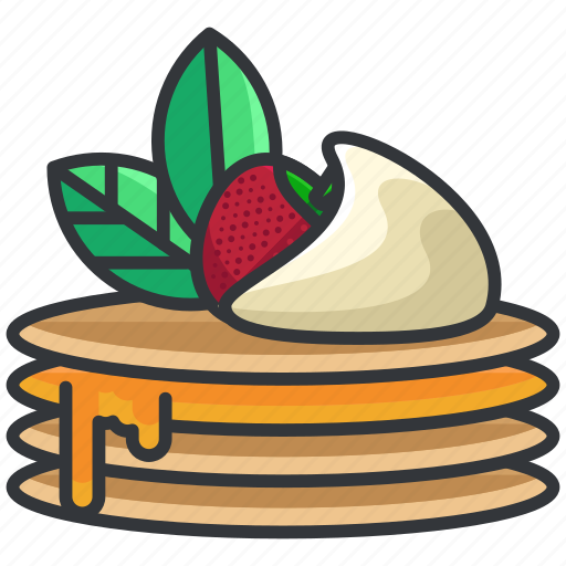 breakfast, food, pancake, pancakes, strawberry icon
