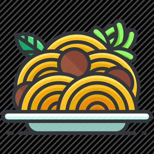 food, macaroni, meatballs, plate, spaghetti icon