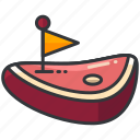 flag, food, meal, meat, steak icon