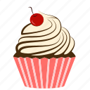 bakery, cake, cherry, creamy, cupcake, dessert, fruit, sweets icon