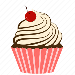 bakery, cake, cherry, creamy, cupcake, dessert, fruit, sweets icon