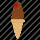 snack, cherry, sweets, dessert, ice cream, chocolate, chocolate ice cream