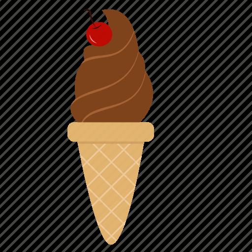 cherry, chocolate, chocolate ice cream, dessert, ice cream, snack, sweets icon