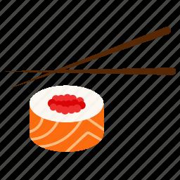 chopsticks, fish, japanese kitchen, salmon, seafood, stick, sushi icon