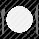 dishes, food, fork, knife, plate, kitchen, restaurant
