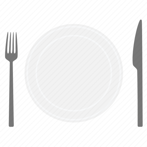 dishes, food, fork, kitchen, knife, plate, restaurant icon