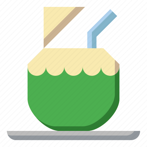 alcohol, cocktail, coconut, drink, drinking, leisure, straw icon