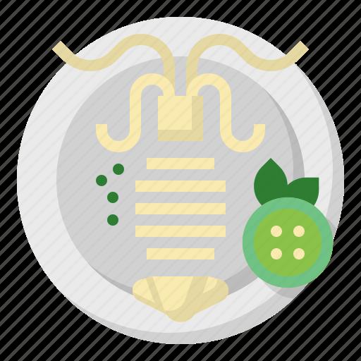 animal, food, grill, lemon, roast, seafood, squid icon