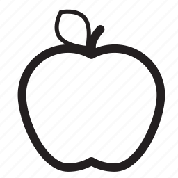 apple, food, fruit, healthy, leaf, snack icon