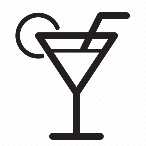 beverage, drink, food, glass, martini, straw icon
