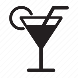 cocktail, drink, food, glass, martini, straw icon