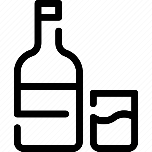 alcohol, beverages, bottle, drink, glass, whiskey icon