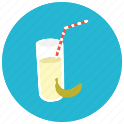 banana, beverages, fruit, glass, healthy, juice, straw icon