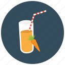 beverages, carrot, glass, healthy, juice, straw icon