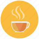 beverages, cup, drink, hot, mug, steam, tea icon