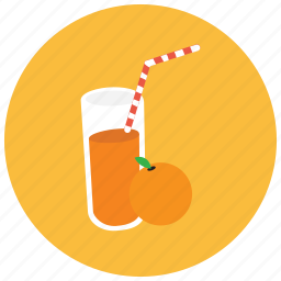 beverages, glass, juice, orange, straw icon