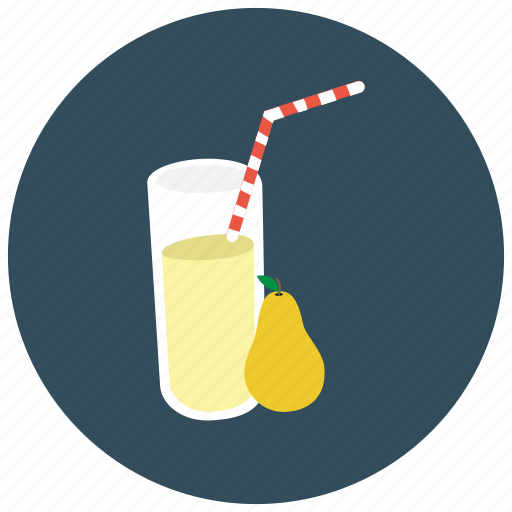 beverages, glass, juice, pear, straw icon