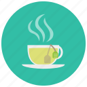 beverages, cup, label, mug, steam, tea icon