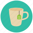 beverages, cup, hot, label, mug, tea icon