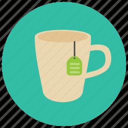 beverages, cup, hot, label, mug, tea icon