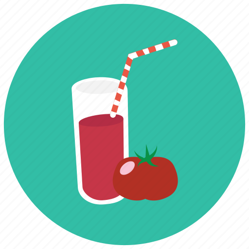 beverages, glass, juice, straw, tomato icon