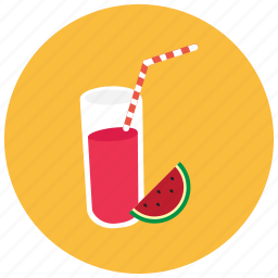 beverages, drink, glass, juice, straw, watermelon icon
