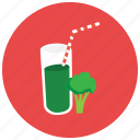 beverages, brocolli, glass, healthy, juice, straw icon