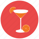 alcohol, beverages, class, glass, martini, orange, refreshing icon