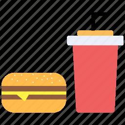 burger, drink, food, junk food icon icon