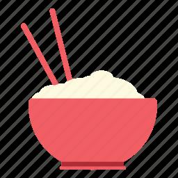bowl, chopsticks, noodles, rice, rice bowl icon icon