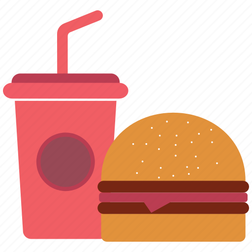 burger, drink, food, junk food icon icon