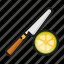 color, cut, food, knife, lemon, outline, slice icon