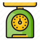 color, food, kitchen utensil, outline, weighing scale, weight icon