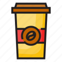 coffee, coffee cup, color, cup, drink, hot, outline