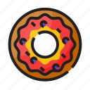 bakery, color, donut, food, outline, sparkle, sweet icon