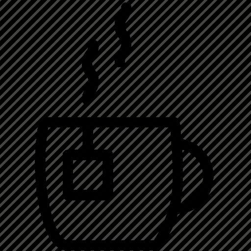 cup, hot tea, mug, tea, tea bag, tea cup icon
