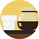 coffee, container, cup, handle, pot, serve, spout icon