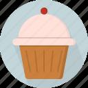 bun, cherry, cupcake, fairy cake, pastry, patty cake, yummy icon