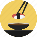chopsticks, eat, japanese food, preparation, seafood, served, sushi icon