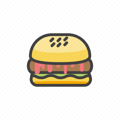 fast, food, hamburger, meat, paty icon