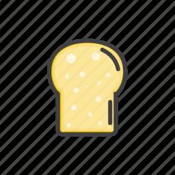 bakery, bread, cake, slice, white icon
