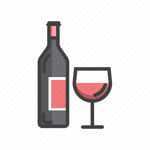 bottle, glass, red, wine icon