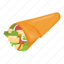 burrito, food, pita sandwich, snack food, tortilla rolls icon