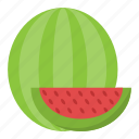 food, fruit, half of watermelon, juicy fruit, watermelon icon