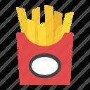 french fries, fries box, frites, potato fries, snack box icon