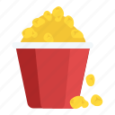 cinema snacks, fast-food, popcorn snacks, popcorns, snack box icon